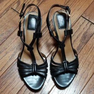 Clarks black t-strap wedge sandals EUC
